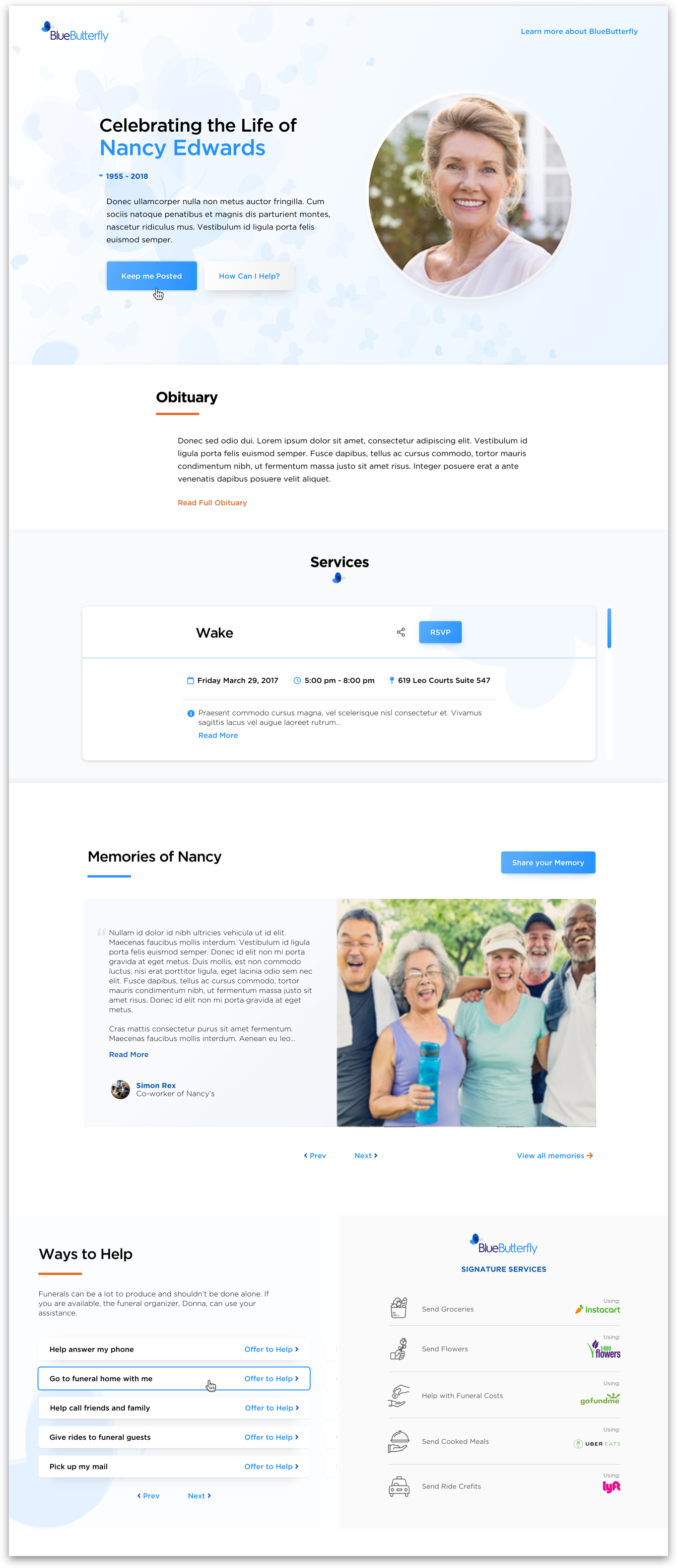 Create a Memorial Page in minutes.